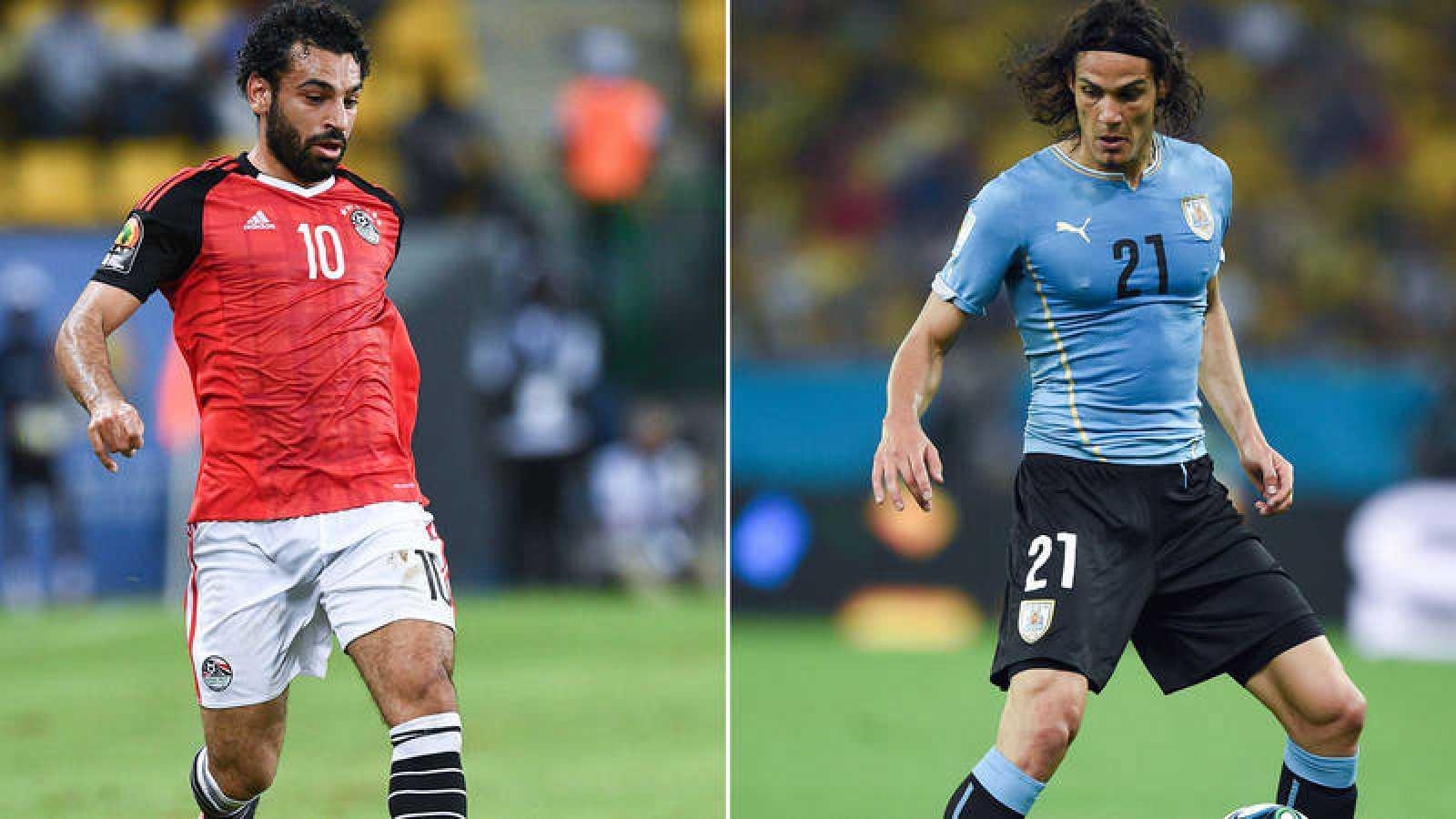 El egipcio Salah y el uruguayo Cavani, duelo de delanteros en el Egipto - Uruguay.