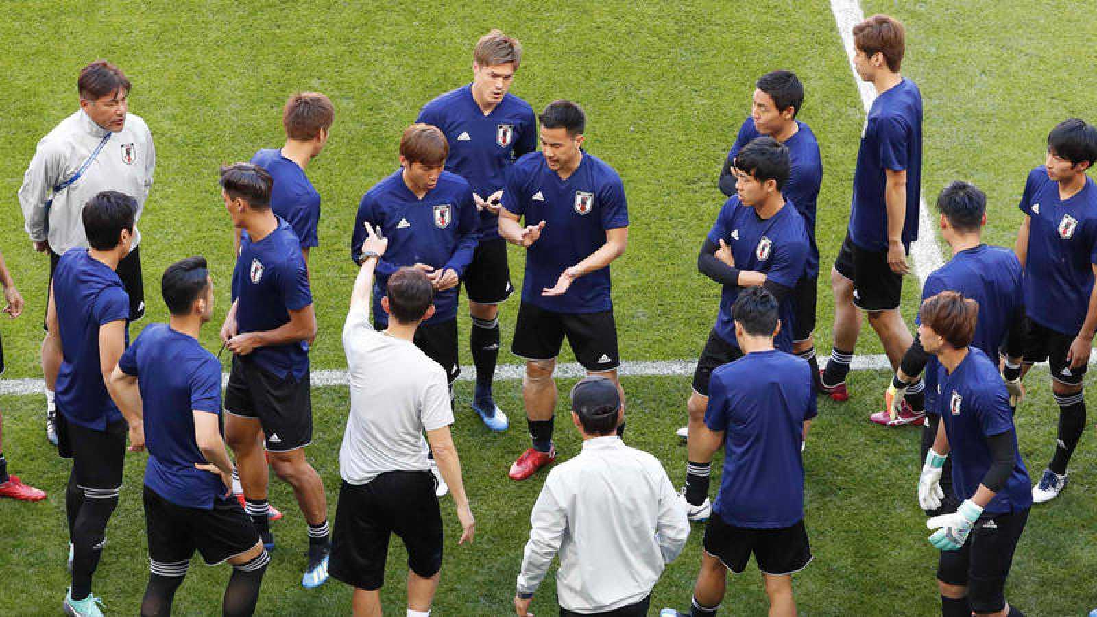 Imagen del entrenamiento de la selección de Japón.