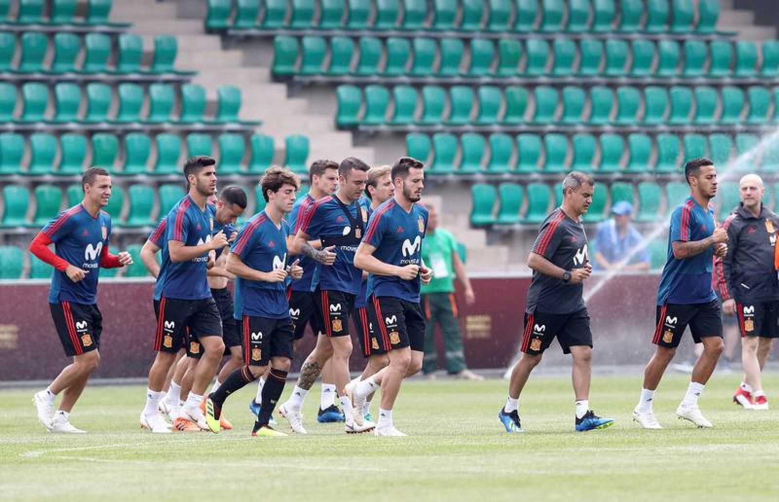 La selección española durante el entrenamiento.