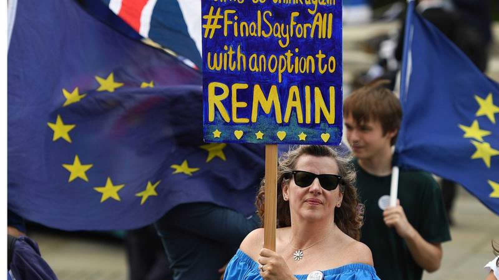 """Una mujer anti-""""brexit"""" protesta fuera del parlamento, en Londres."""