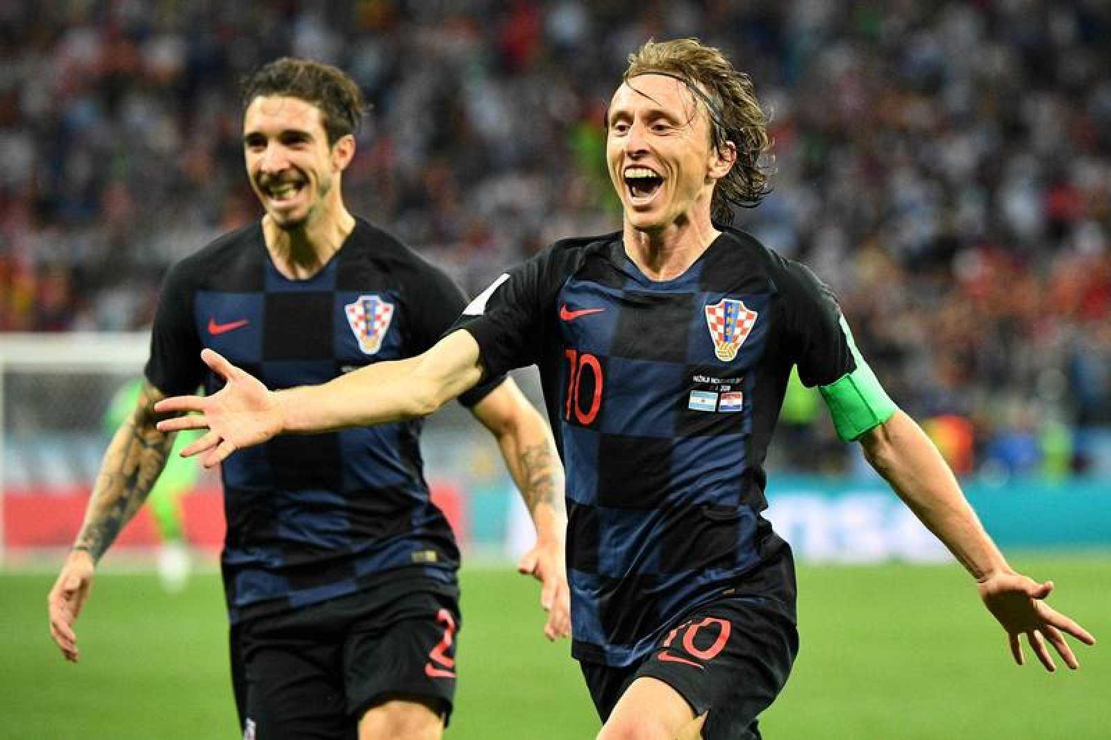 Luka Modric celebra el segundo gol croata frente a Argentina.