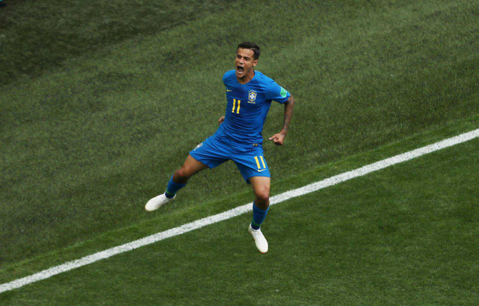 Coutinho celebra el gol de Brasil
