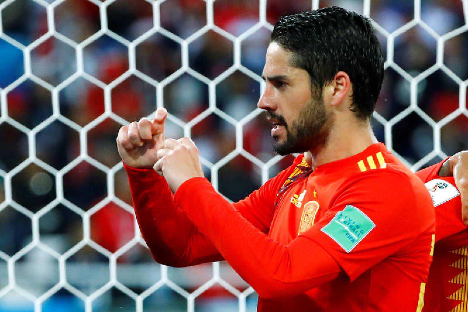 Isco tras marcar ante Marruecos.