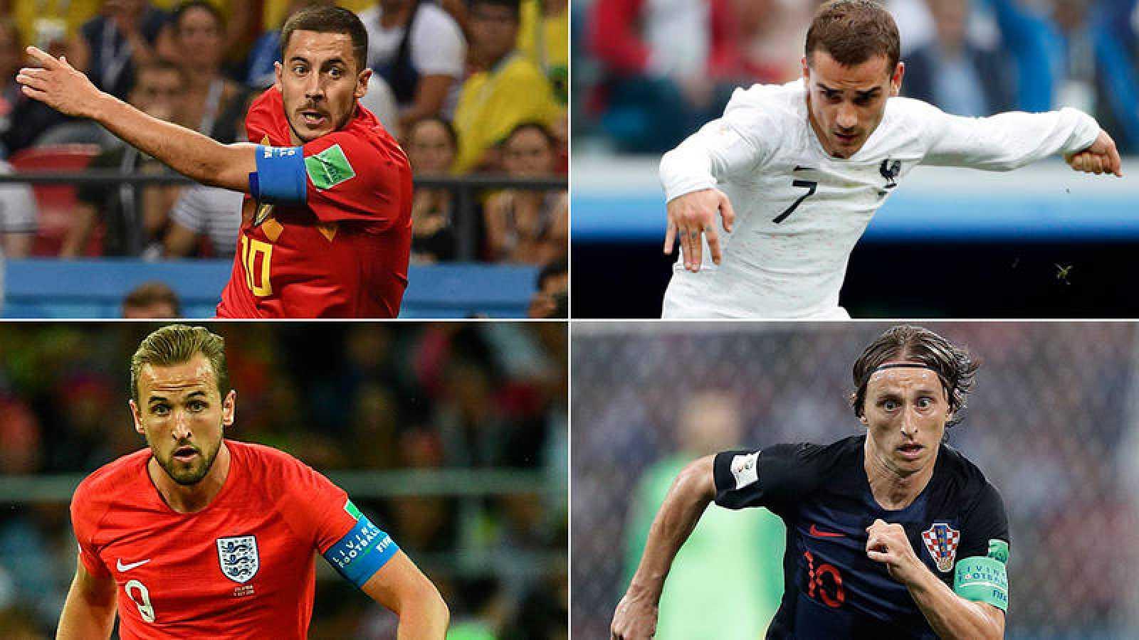 Hazard, Griezmann, Kane y Modric, cuatro estrellas de los semifinalistas del Mundial.