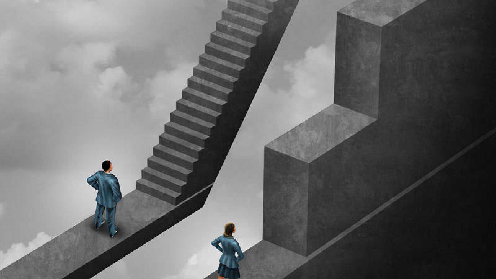 Ilustración sobre las brechas de género en el mundo laboral