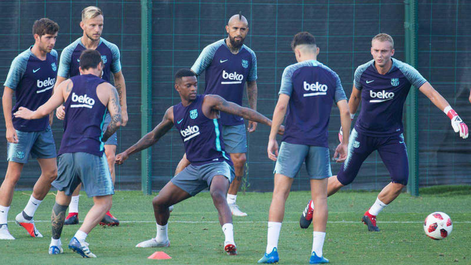 Imagen del entrenamiento del FC Barcelona.