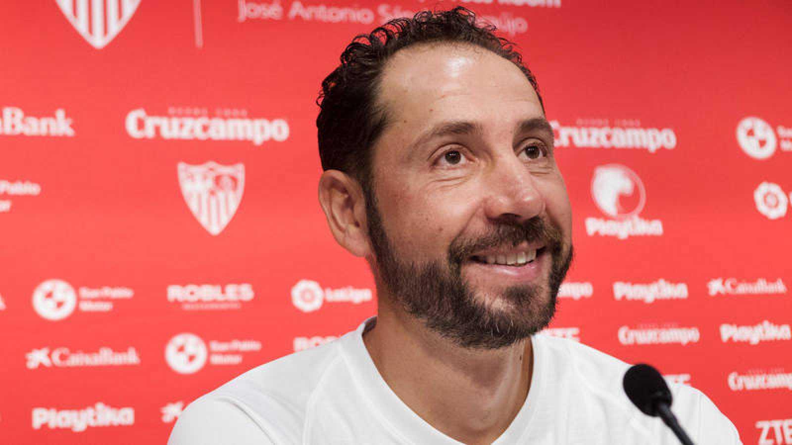 El entrenador del Sevilla, Pablo Machín, en rueda de prensa.