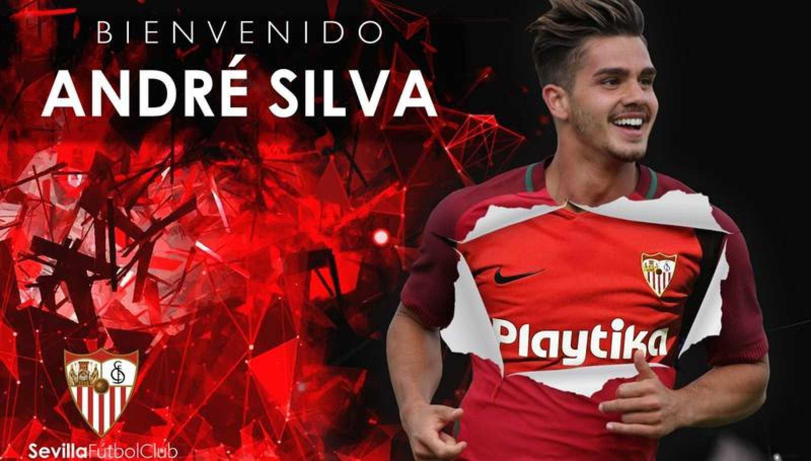 Imagen del anuncio de André Silva en la web del Sevilla.