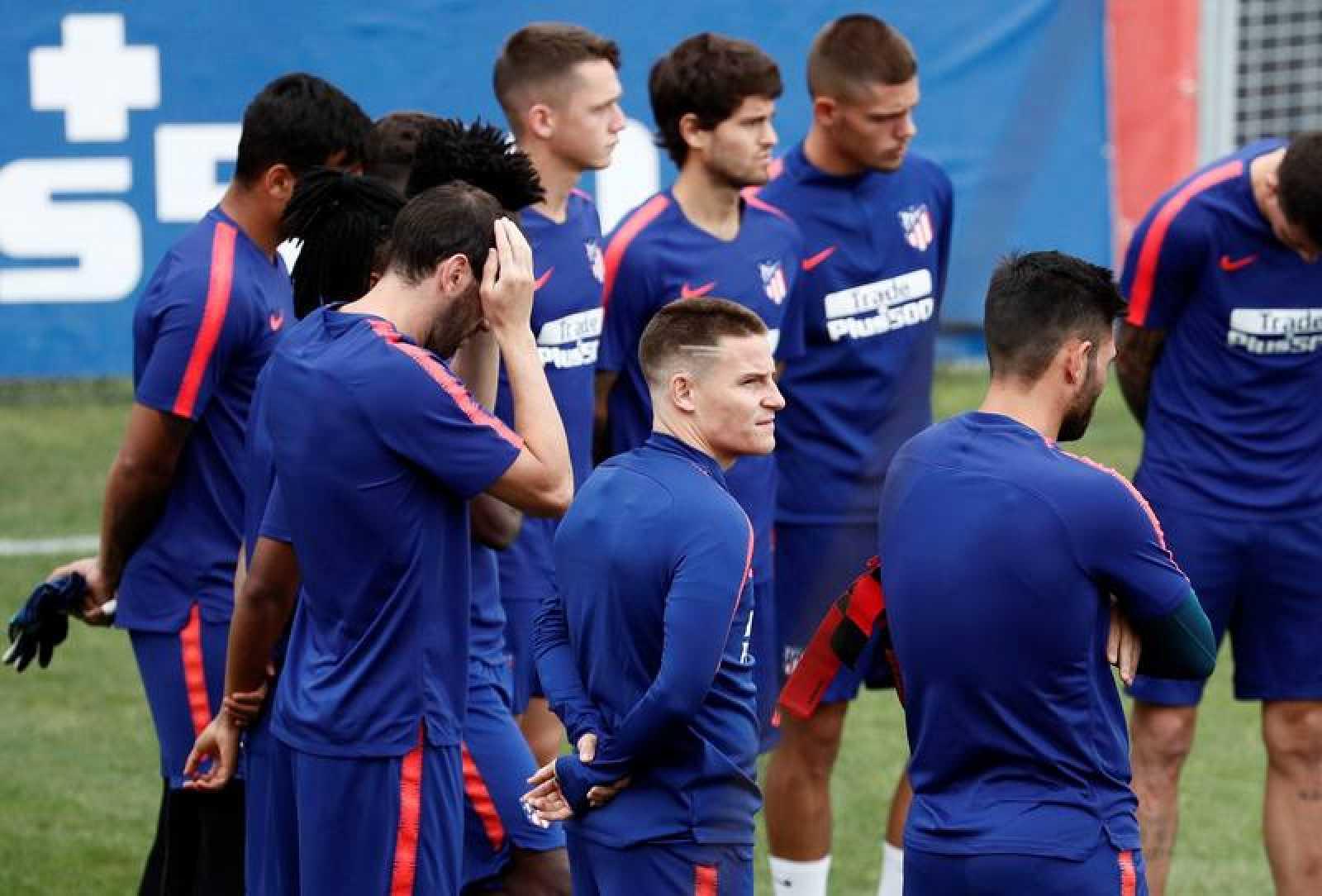 El delantero francés Kevin Gameiro durante el entrenamiento del Atlético de Madrid.