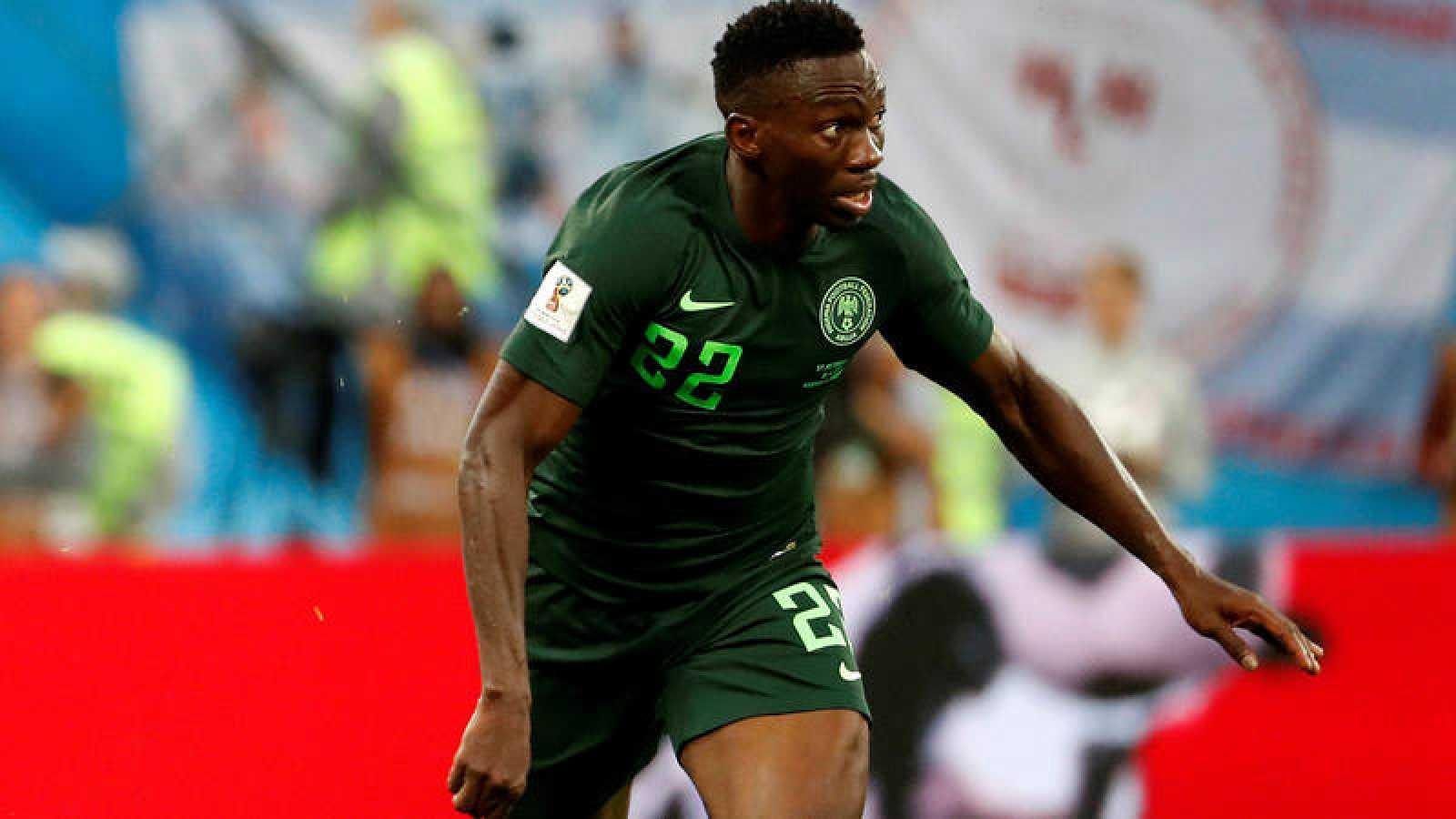 El defensa nigeriano Kenneth Omeruo,durante el partido Nigeria-Argentina, del Grupo D del Mundial de Rusia.