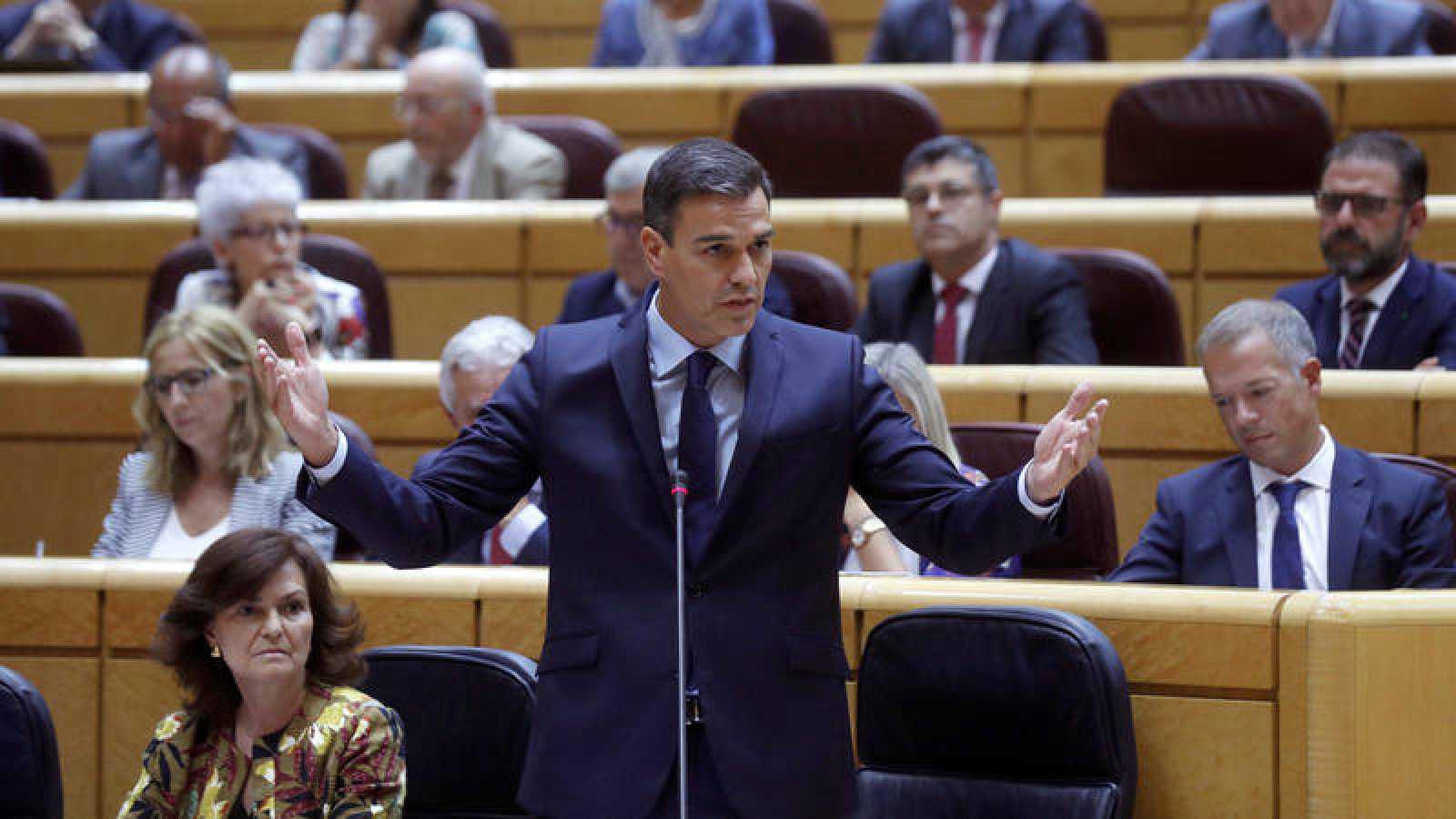 El presidente del Gobierno, Pedro Sánchez, interviene durante la sesión de control del Gobierno en el Senado