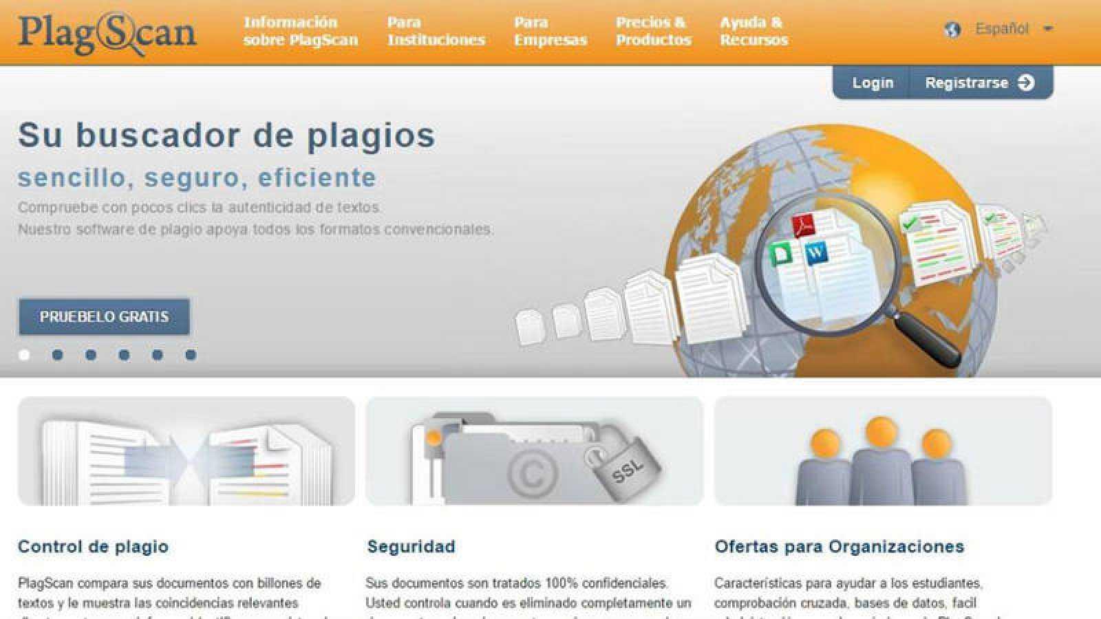 Pantallazo de la web de Plagscan, una de las herramientas utilizadas por Moncloa para analizar la tesis de Sánchez.