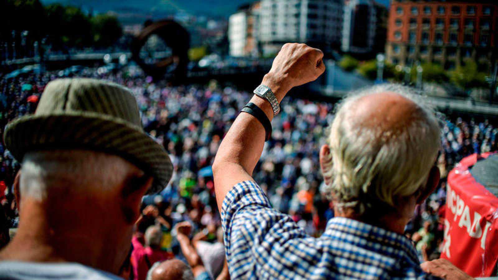 Imagen de archivo de una protesta de pensionistas en Bilbao
