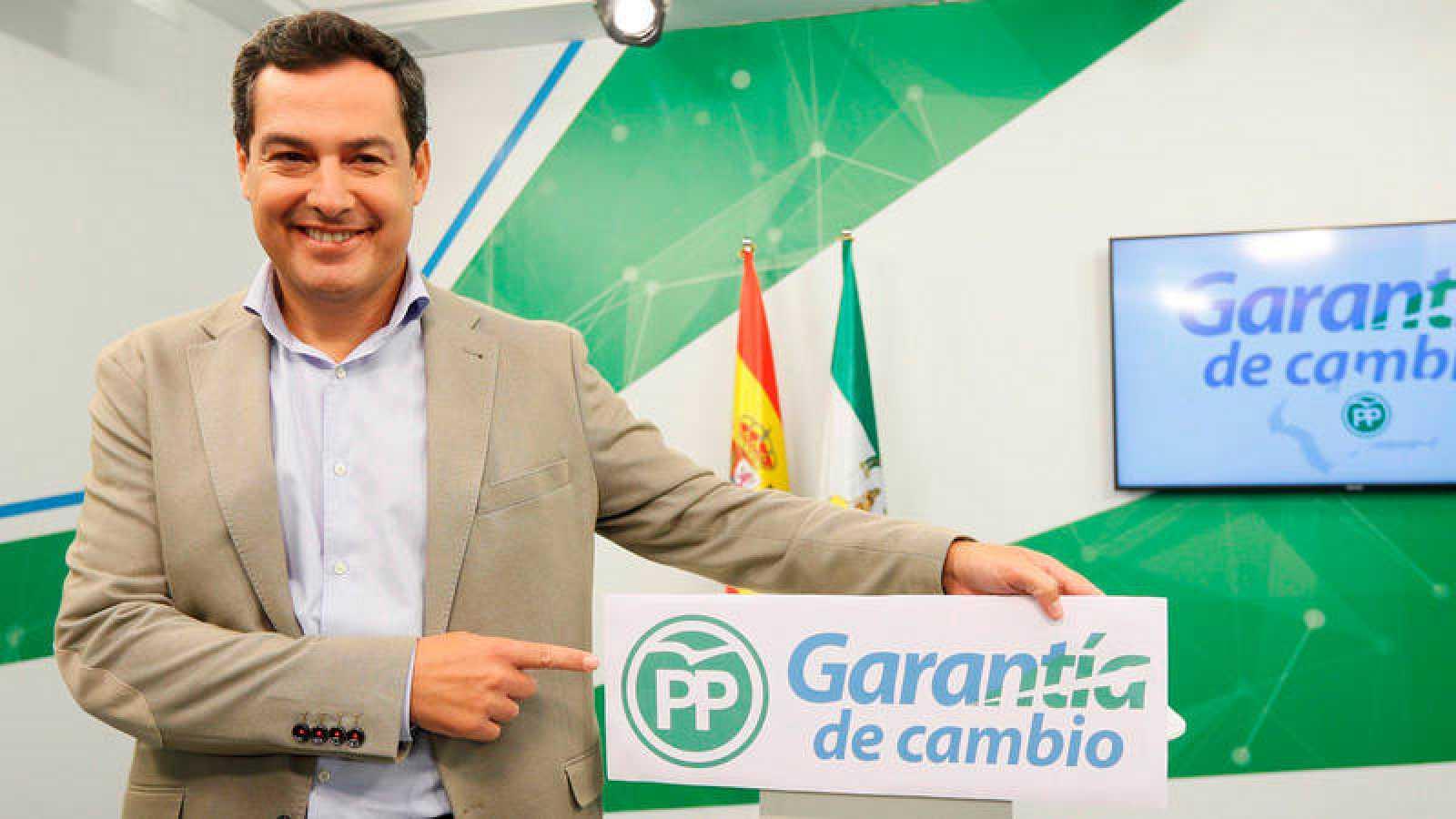 Juanma Moreno presenta el lema del PP para la campaña de las elecciones andaluzas de 2018.
