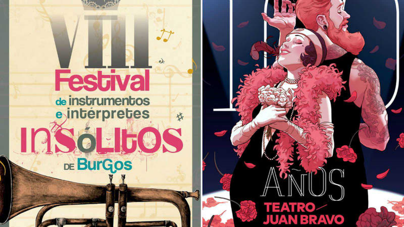 Carteles del VIII Festival de Instrumentos e Intérpretes Insólitos de Burgos y del centenario del Teatro Juan Bravo de Segovia