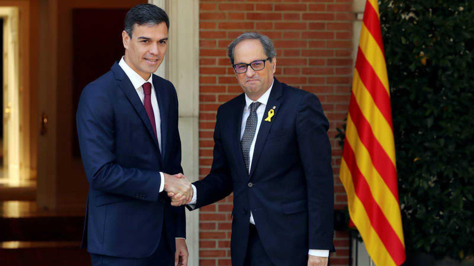 Reunión de Pedro Sánchez y Quim Torra en Moncloa