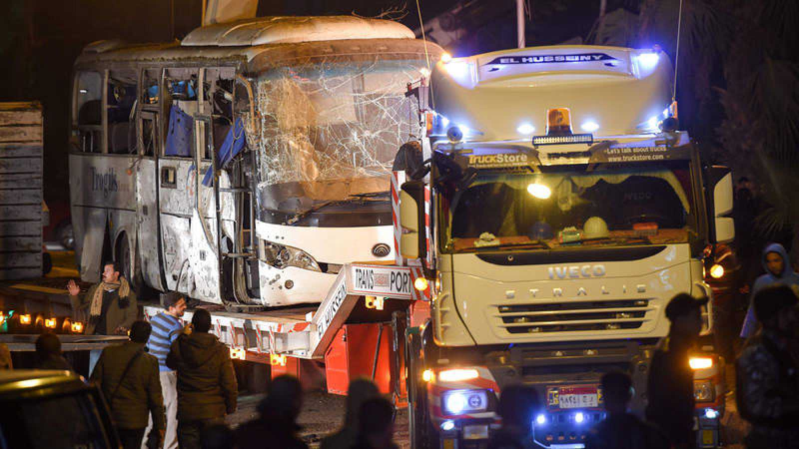 El autobús tras el atentado