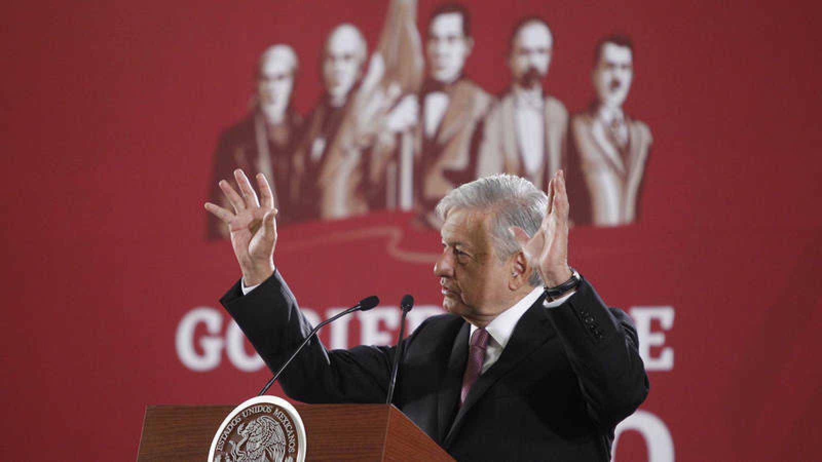 Andrés Manuel López Obrador durante una rueda de prensa en Ciudad de México