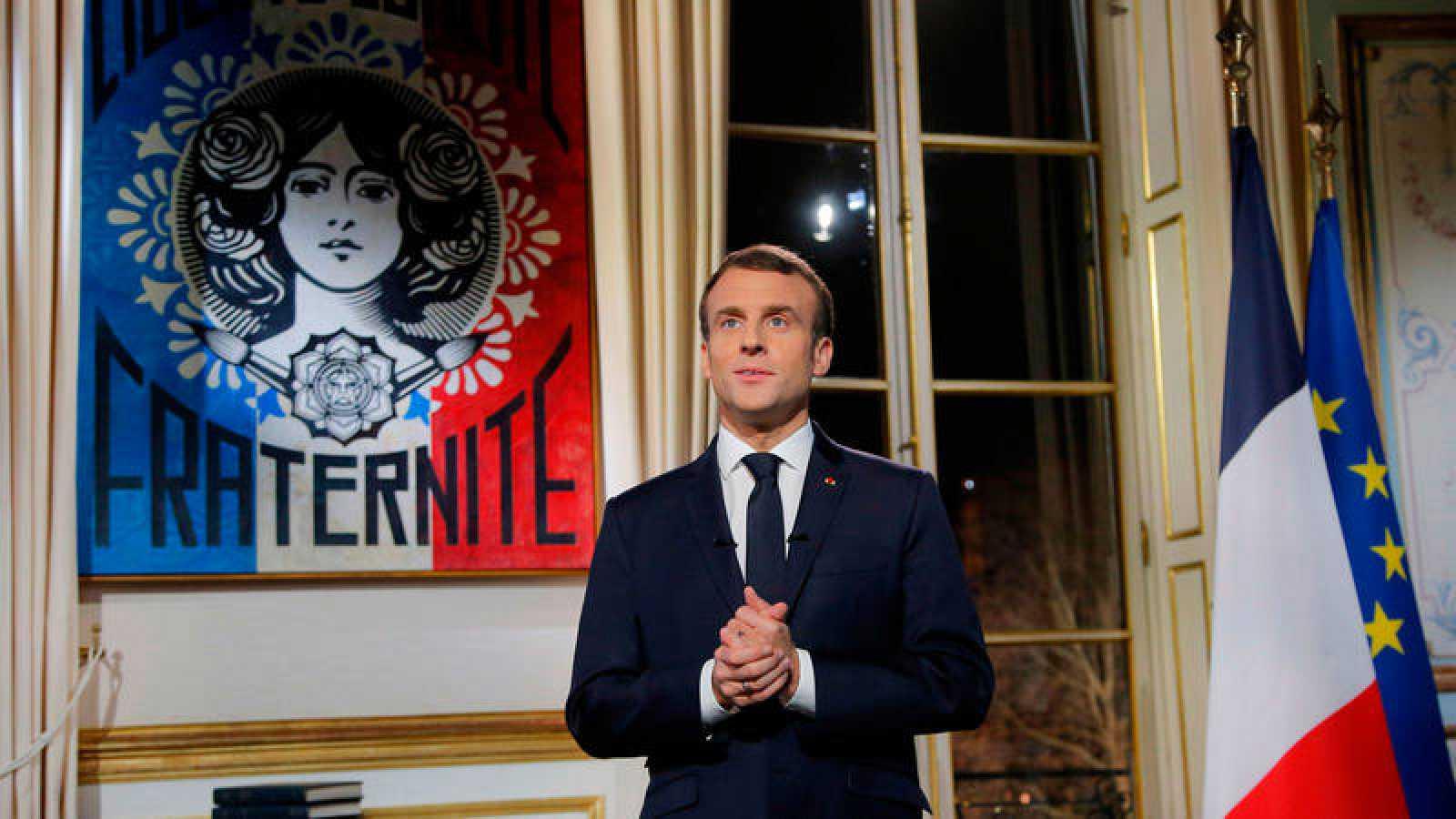 El presidente de Francia, Emmanuel Macron, en su discurso de fin de año
