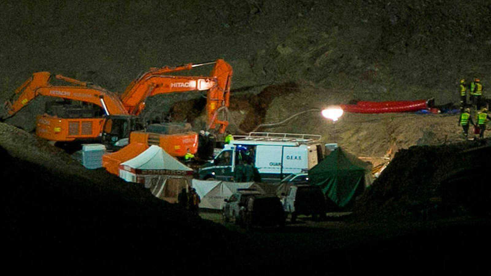 Imagen del dispositivo de rescate de Julen en el pozo de Totalán