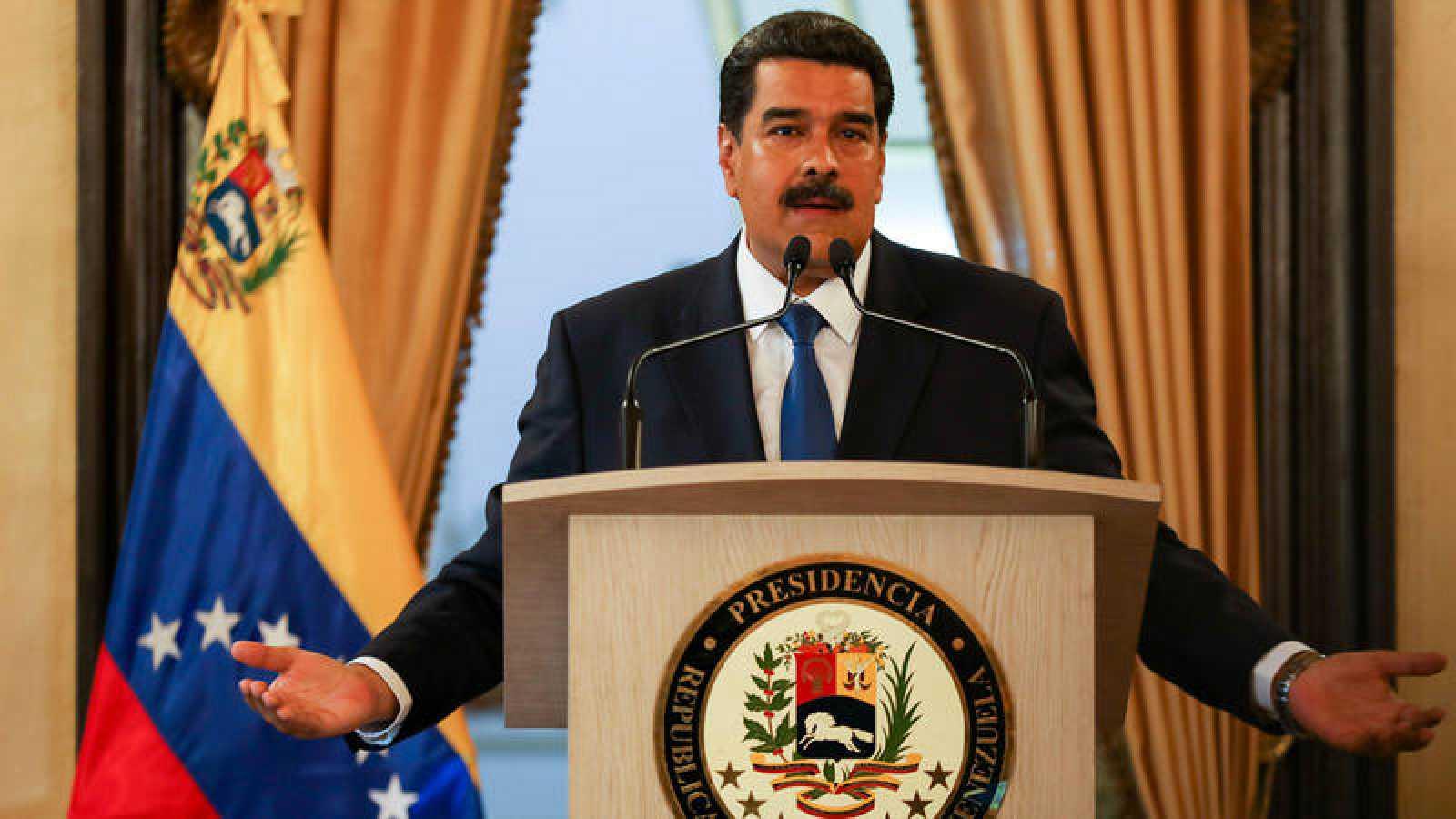Nicolás Maduro, este viernes en la rueda de prensa en el Palacio de Miraflores