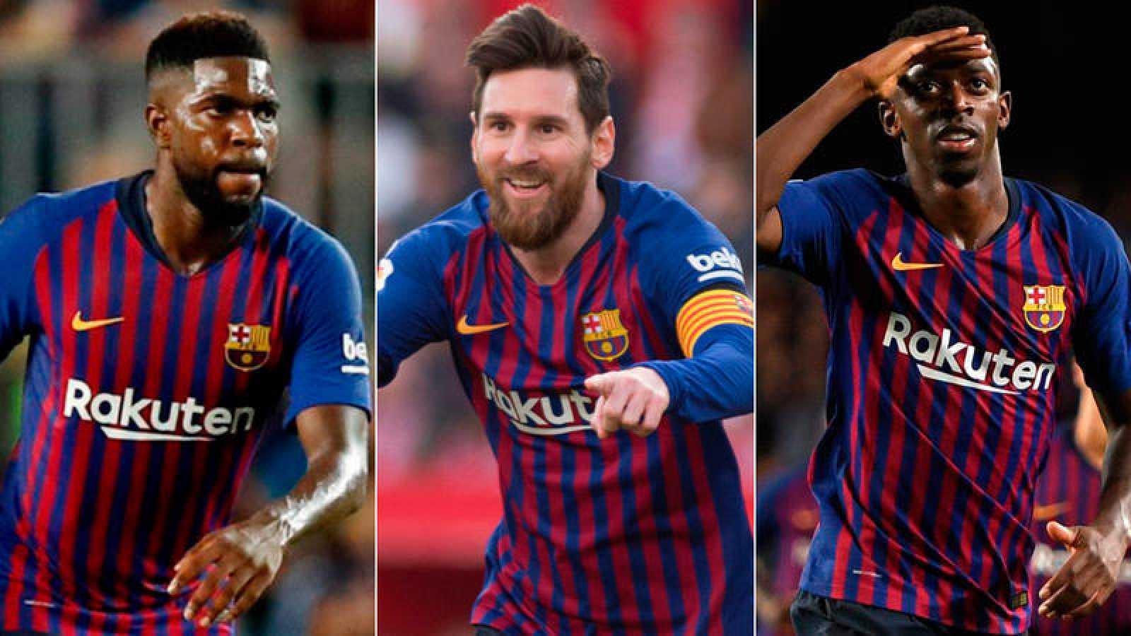 Los jugadores del FC Barcelona Umtiti, Messi y Dembélé.