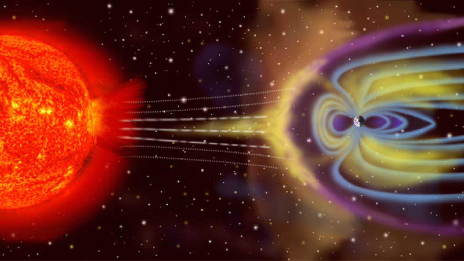 Ilustración de las partículas de viento solar interactuando con la magnetosfera de la Tierra.