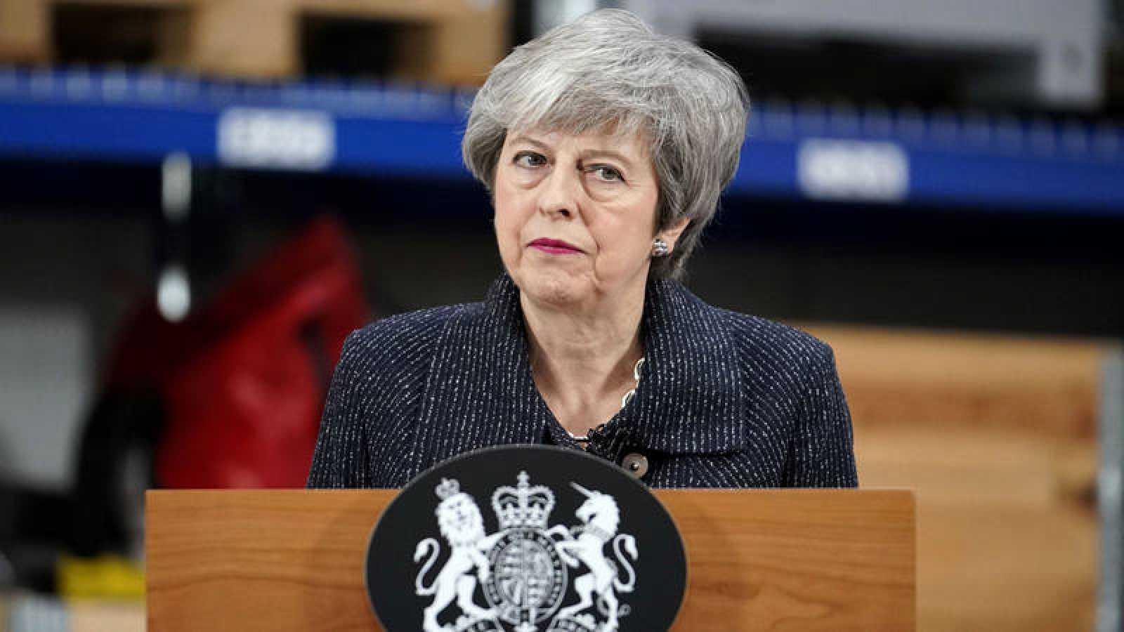 La primera ministra británica, Theresa May, pronuncia un discurso en Grimsby