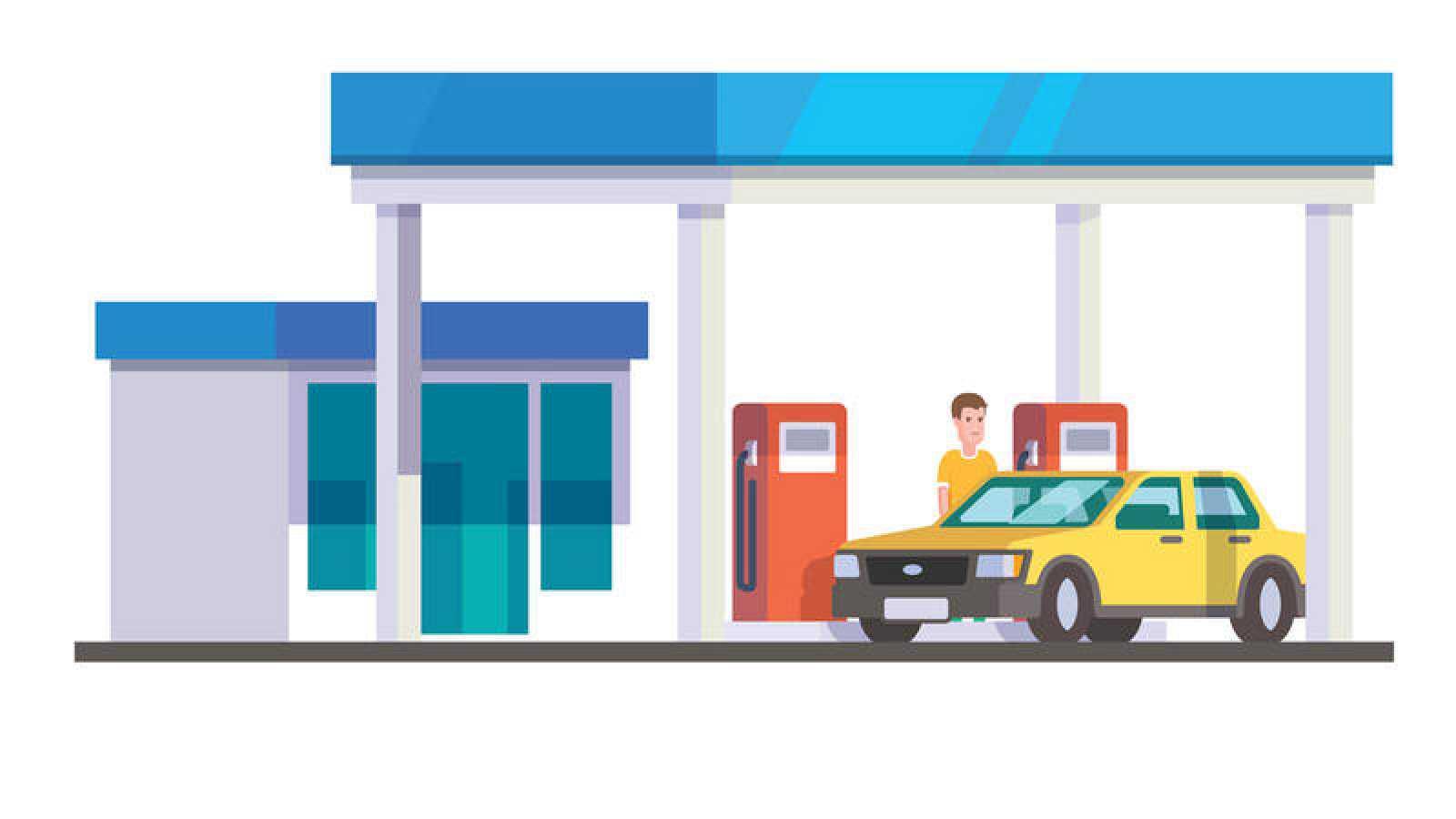 Ilustración de una gasolinera