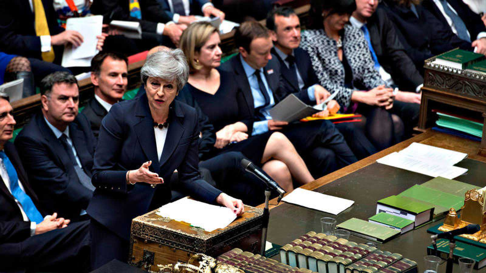 La primera ministra británica, Theresa May, durante la sesión parlamentaria