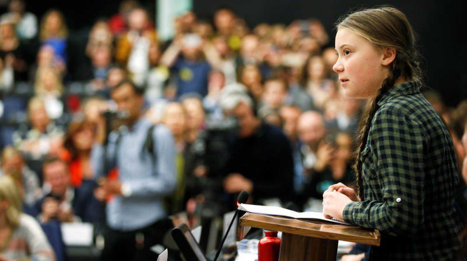 La activista sueca Greta Thunberg durante su discurso ante al Eurocámara