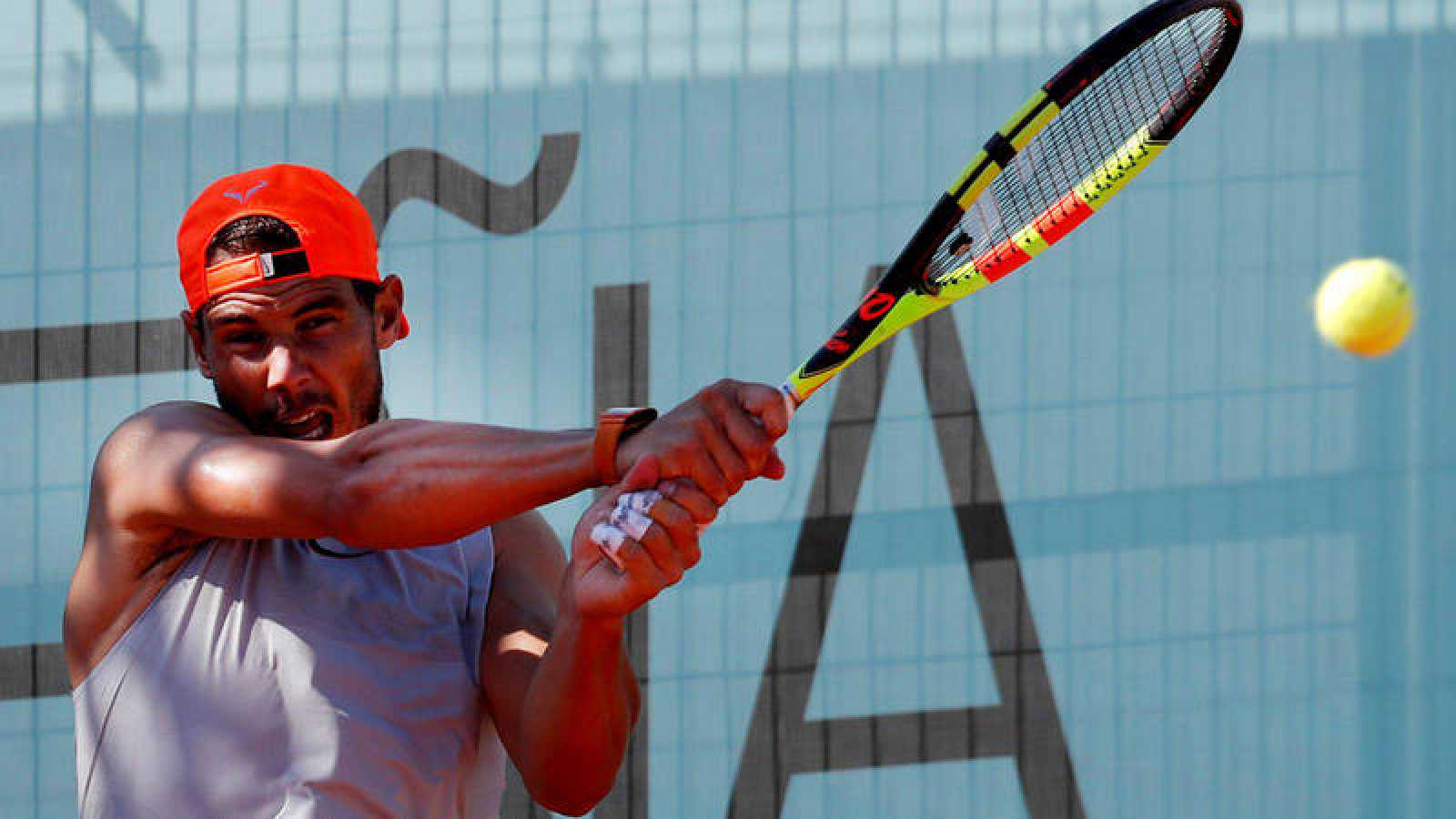 Rafa Nadal, entrenando en el Madrid Open 2019