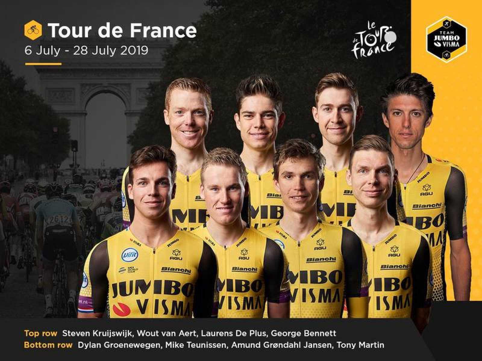 Imagen publicada por el equipo holandés Jumbo Visma con el equiupo elegido para disputar el Tour 2019.