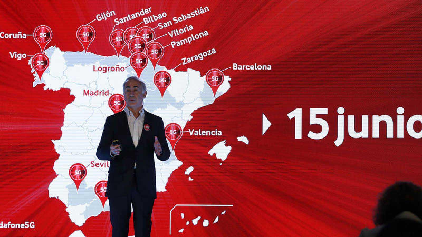 El presidente de Vodafone España, Antonio Coimbra, durante la presentación de los servicios 5G de la compañía en España.