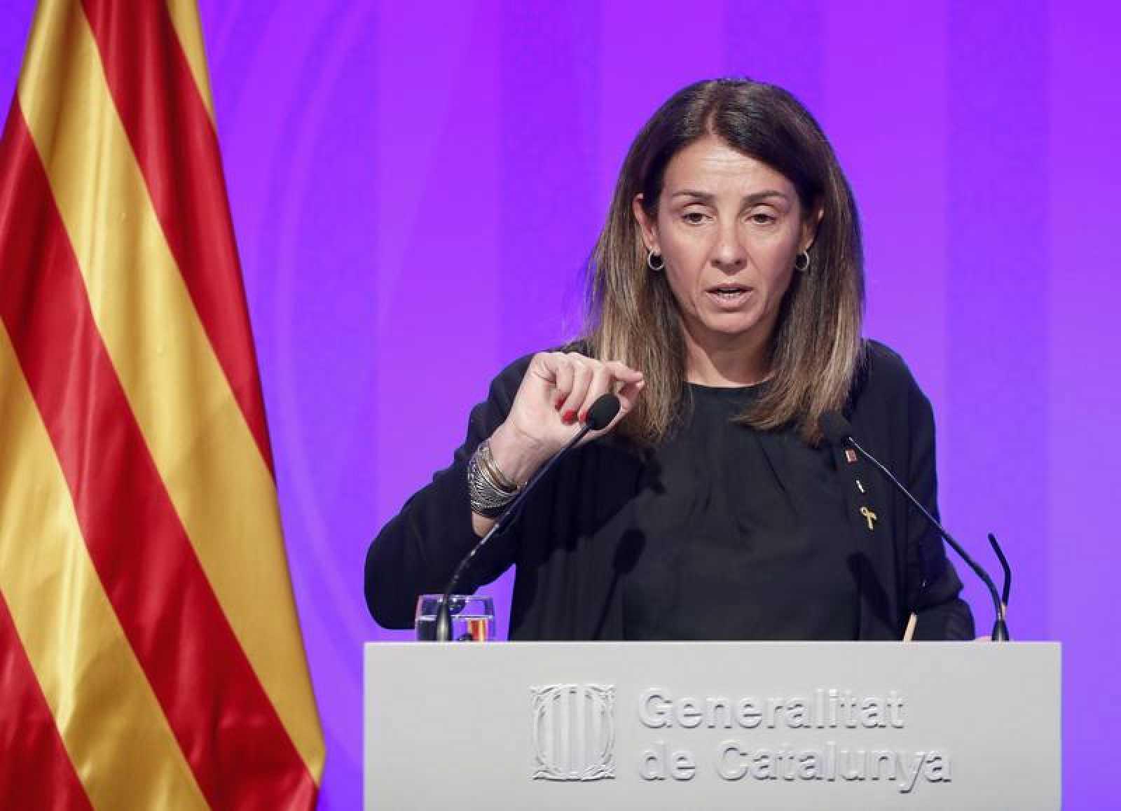 La consellera de la presidencia y portavoz del Govern, Meritxell Budó, durante la rueda de prensa