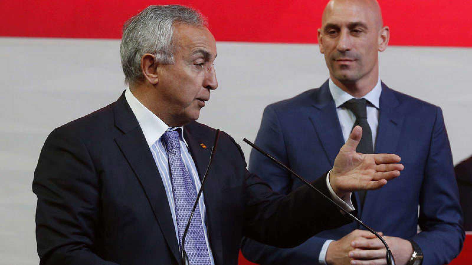 El presidente del Comité Olímpico Español, Alejandro Blanco, en un acto de la RFEF.