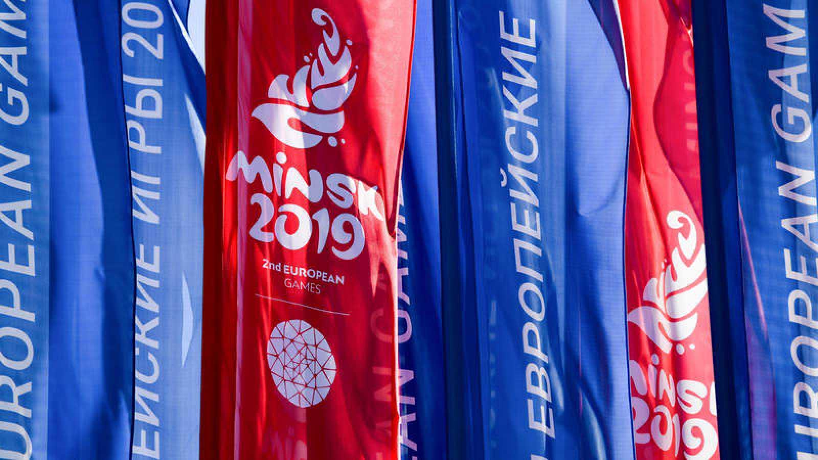 Banderas de los Juegos Europeos, en Minsk (Bielorrusia).