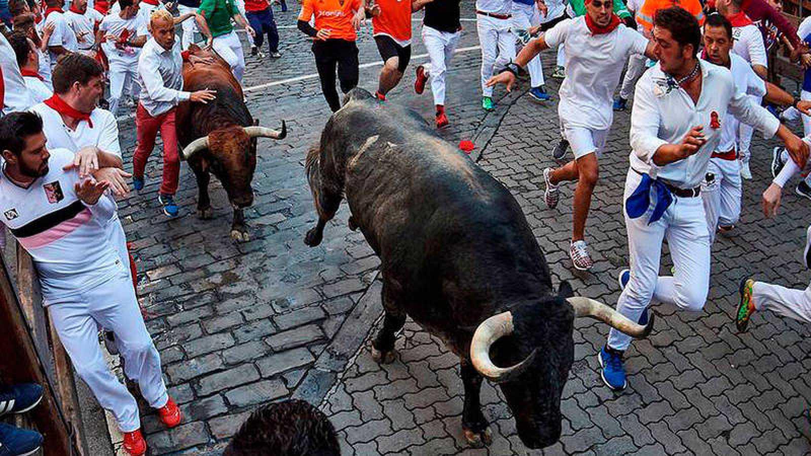 Los toros de Cebada Gago, durante el encierro de 2018