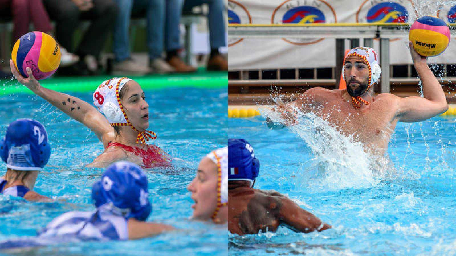 Pili Peña (i) y Blai Mallarach, en sendos partidos de las selecciones absolutas de waterpolo de España