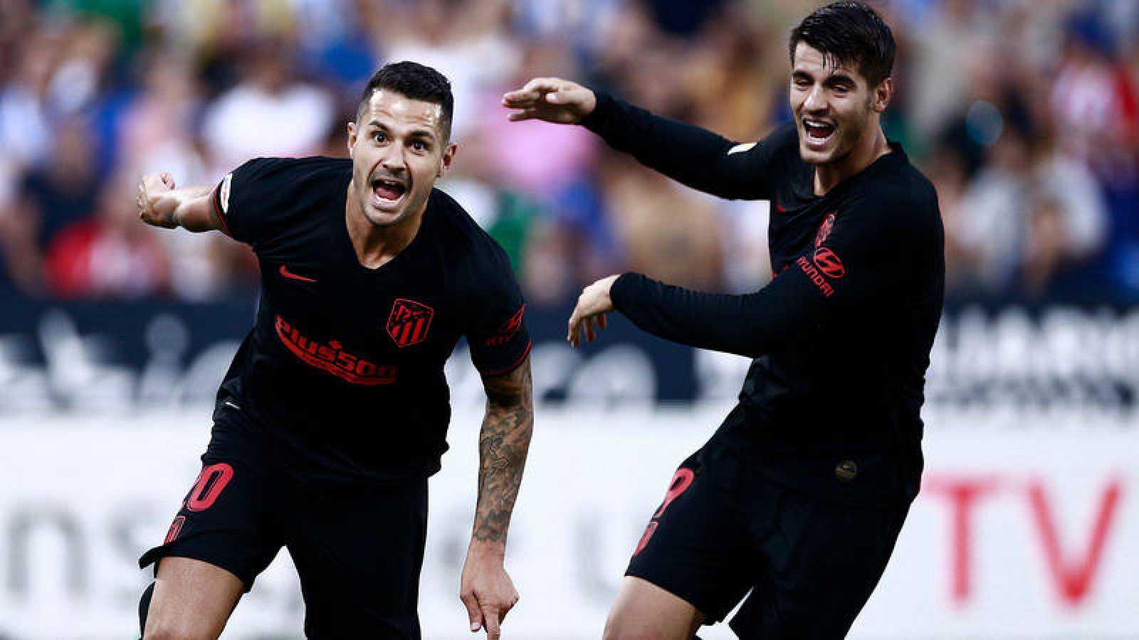 Vitolo celebra el tanto marcado al Leganés.