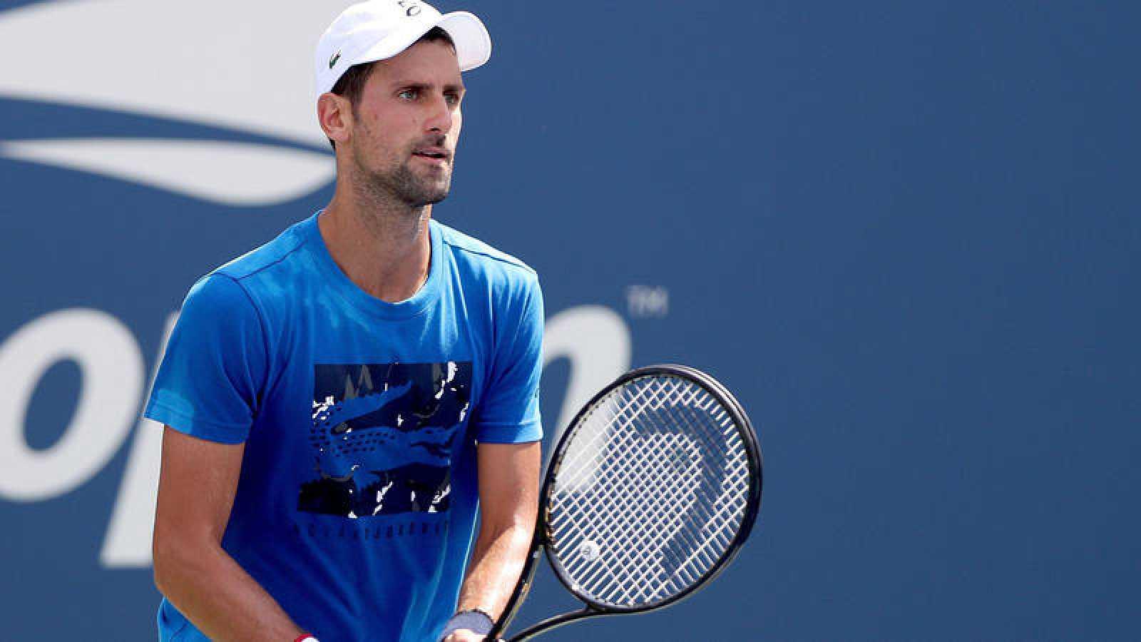 El serbio Novak Djokovic, entrenando en Nueva York para el US Open.