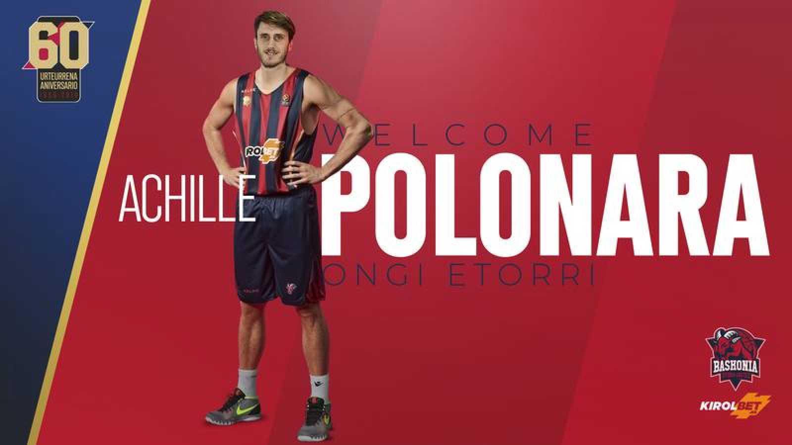 Cartel de bienvenida para Polonara en la web del Baskonia.