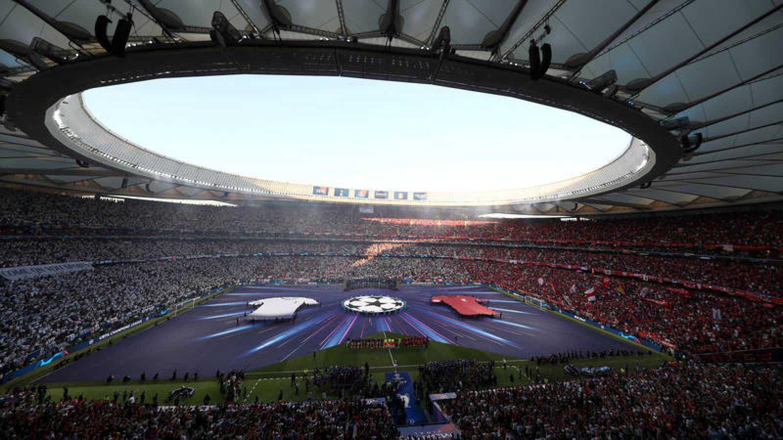 Imagen de la pasada final de Champions entre Liverpool y Tottenham en Madrid.