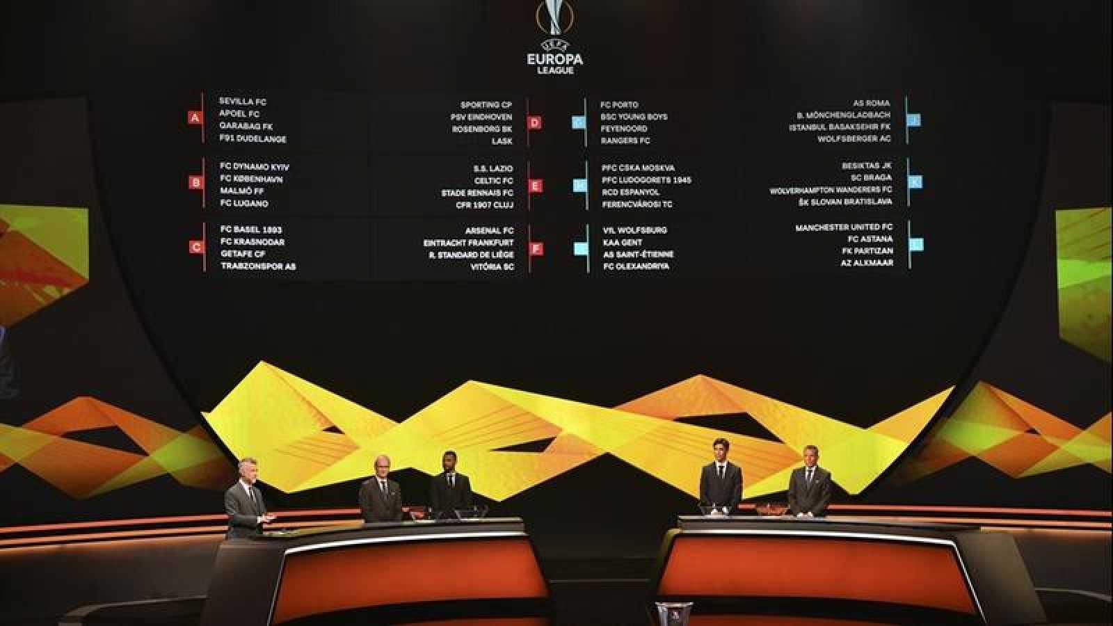 Europa League: Imagen del sorteo celebrado este viernes en Mónaco