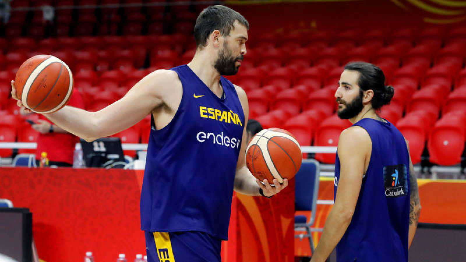 Marc Gasol y Ricky Rubio, en el entrenamiento de la selección española.