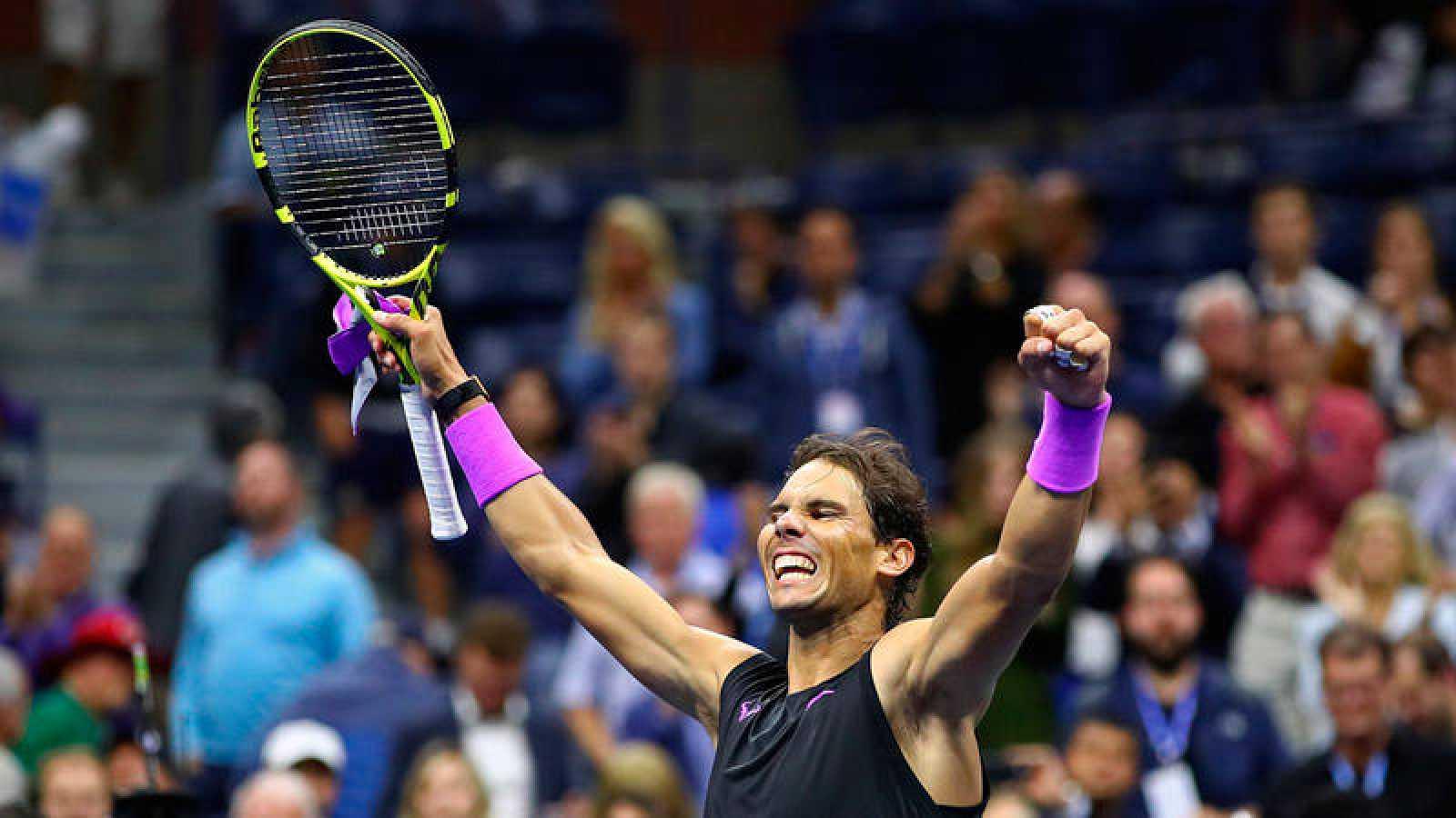 El tenista Rafa Nadal celebrando su victoria en el US Open