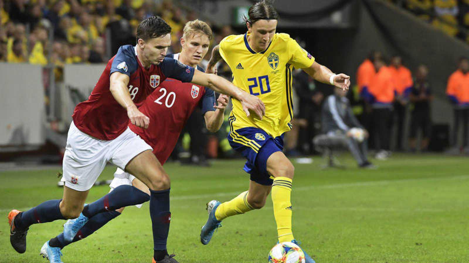 Imagen del Suecia - Noruega, clasificatorio para la Eurocopa 2020.