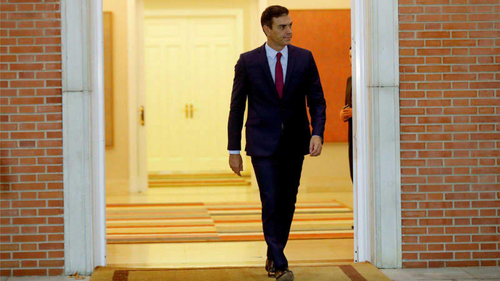 El presidente del Gobierno en funciones Pedro Sánchez, en el Palacio de la Moncloa