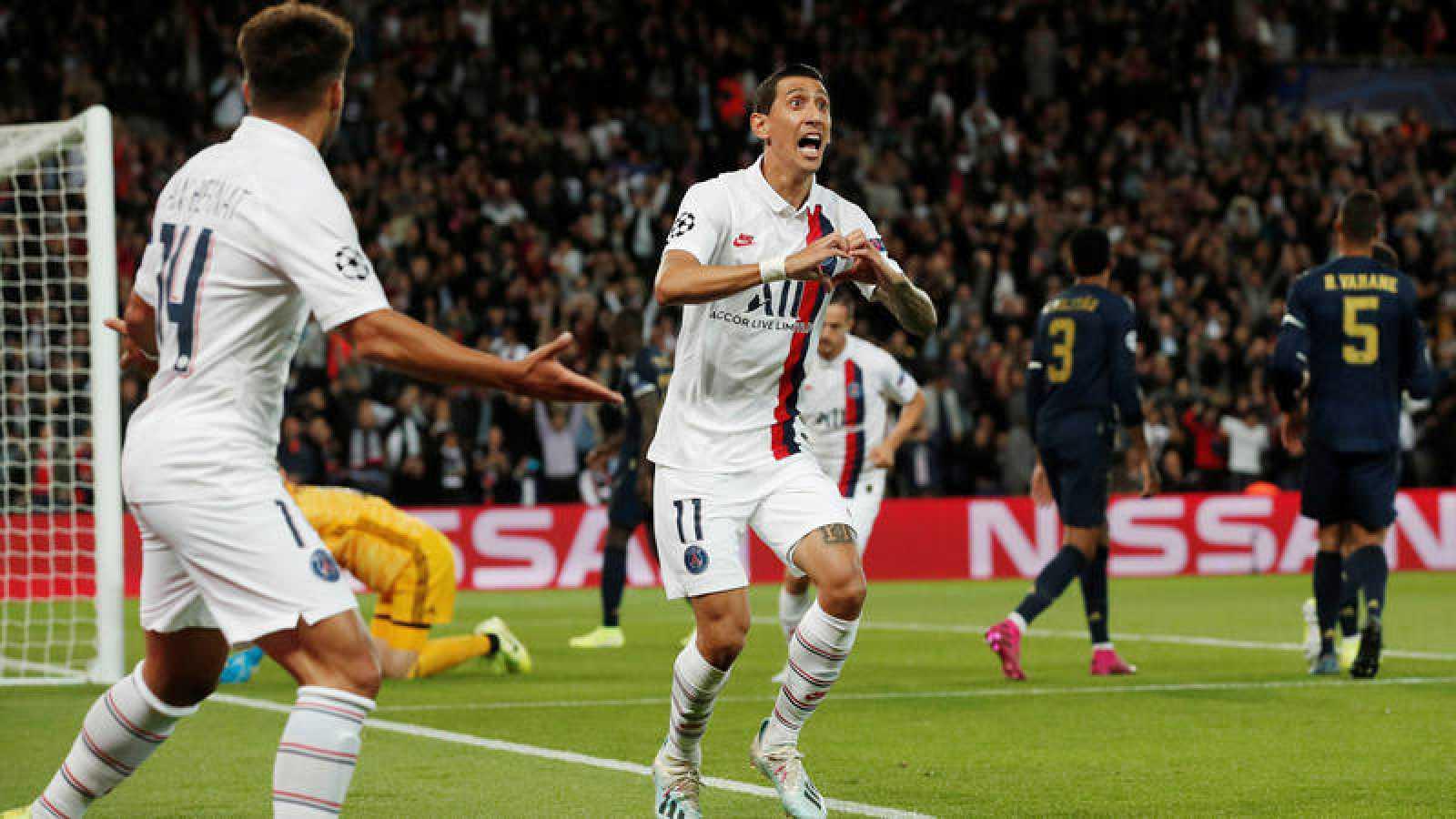 El argentino Di María, del PSG, celebra el primer gol ante el Madrid.
