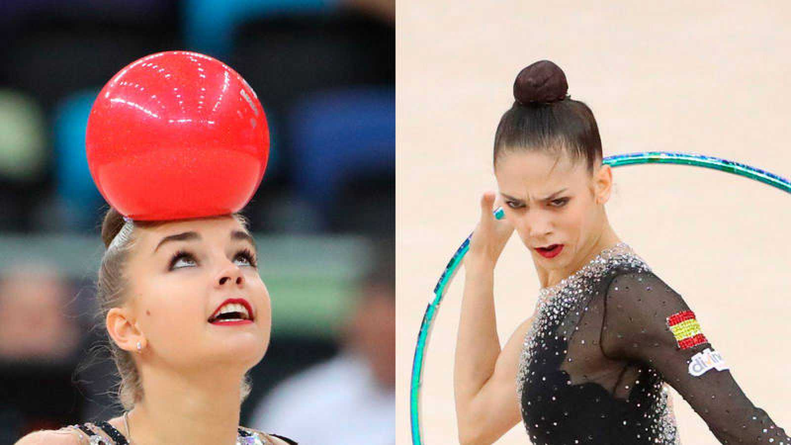 Dina Averina (izqda) y Polina Berezina, este viernes en Bakú